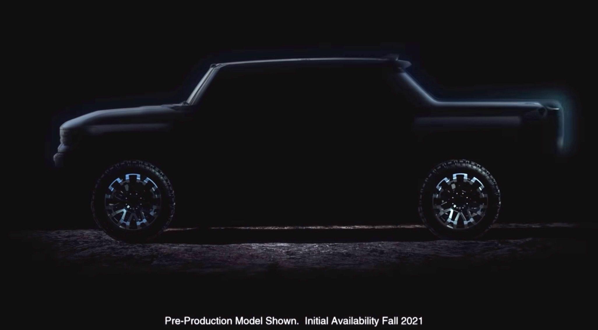 Den elektriske Hummer-pickupen skal avdukes mot slutten av året. Nå viser GM siluetten av bilen.