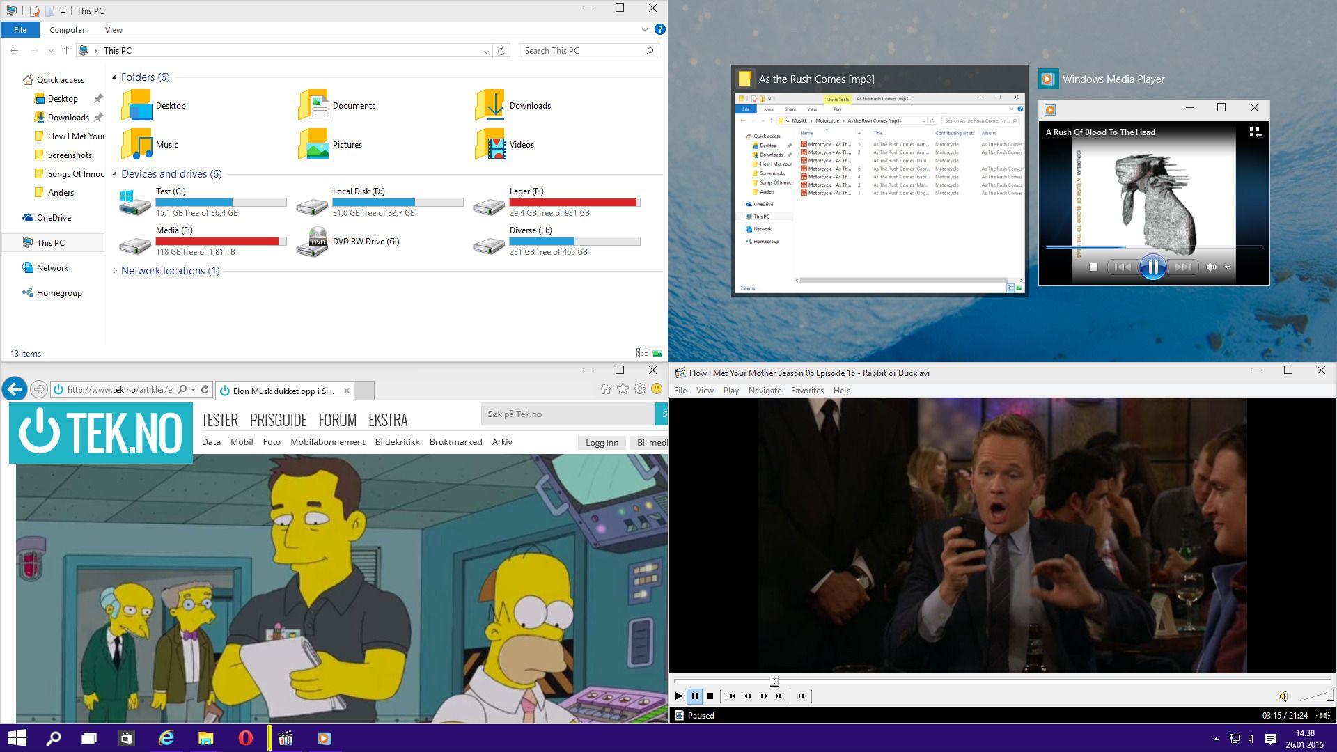 I Windows 10 er det blitt en lek å organisere skrivebordet med programmer og vinduer som fester seg til både kanter og hjørner.