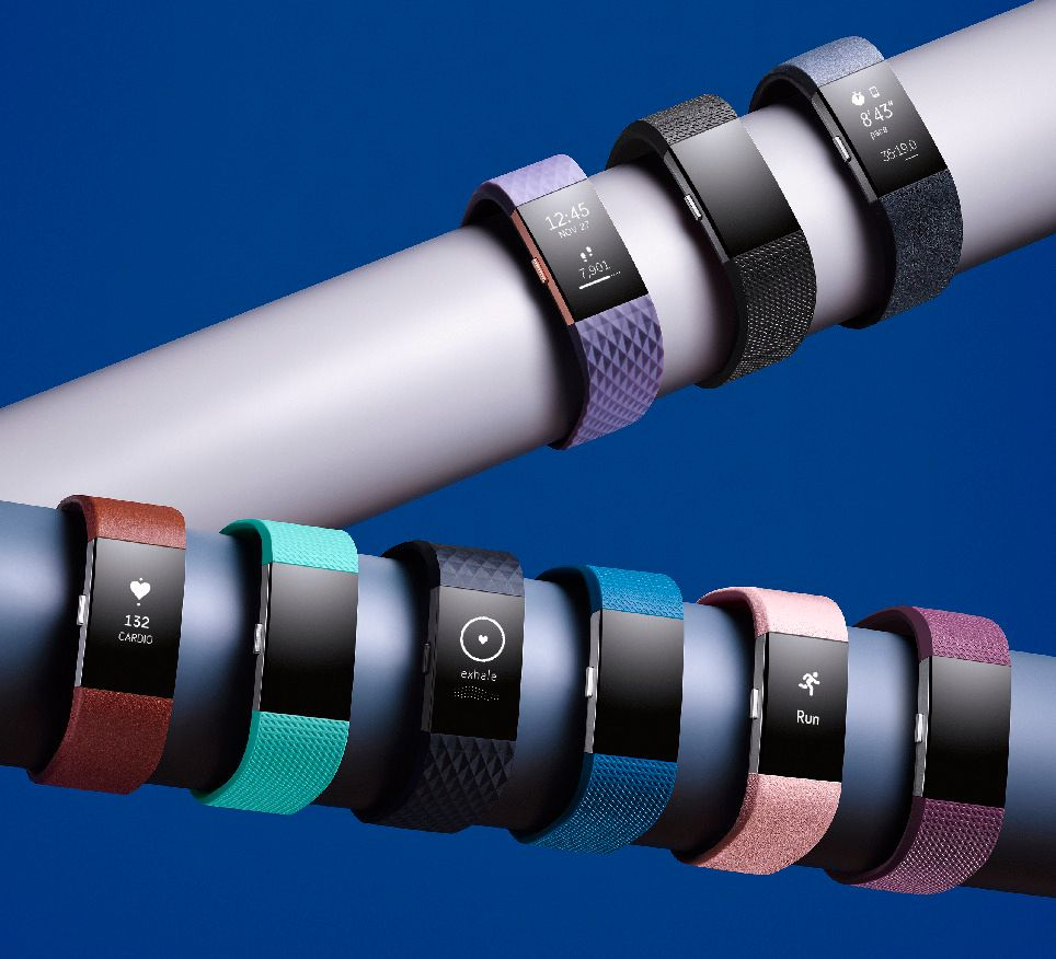 Fitbit Charge 2 kan utrustes med flere typer reimer.