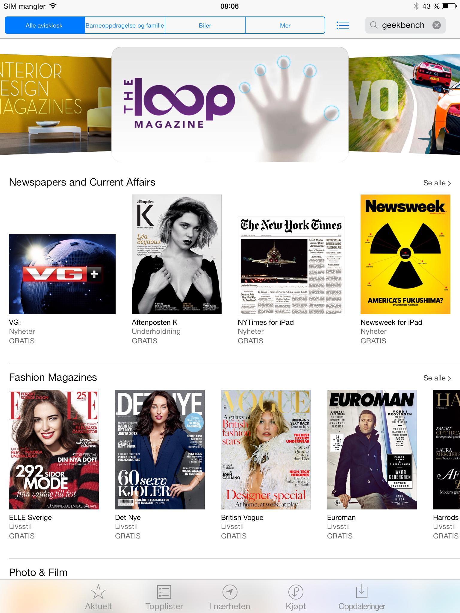 Aviskiosken gir deg enkel tilgang på både tidsskrifter og aviser som er spesielt utformet for iOS.Foto: Finn Jarle Kvalheim, Amobil.no