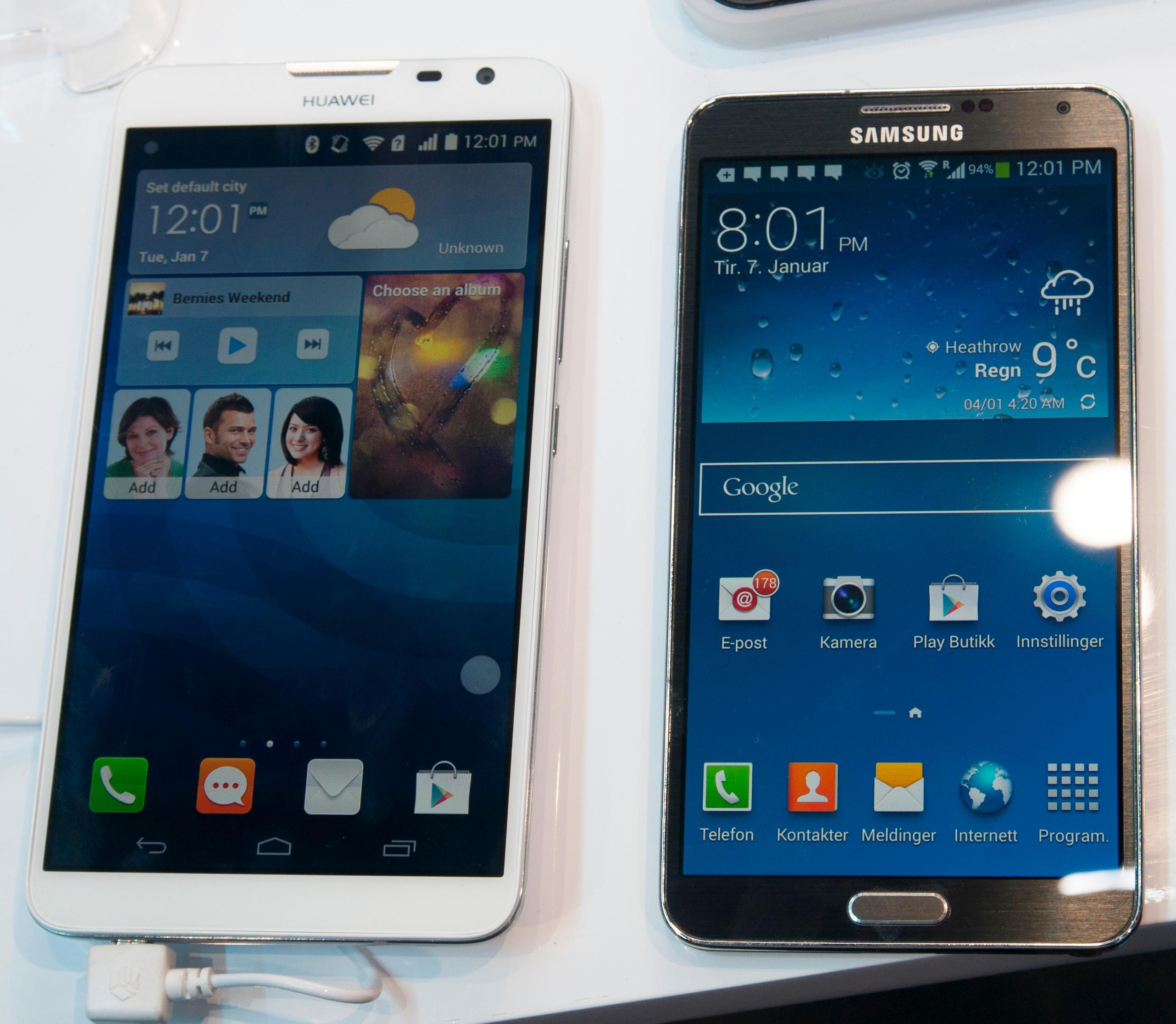 Ascend Mate 2 til venstre, Samsung Galaxy Note 3 til høyre.Foto: Finn Jarle Kvalheim, Amobil.no