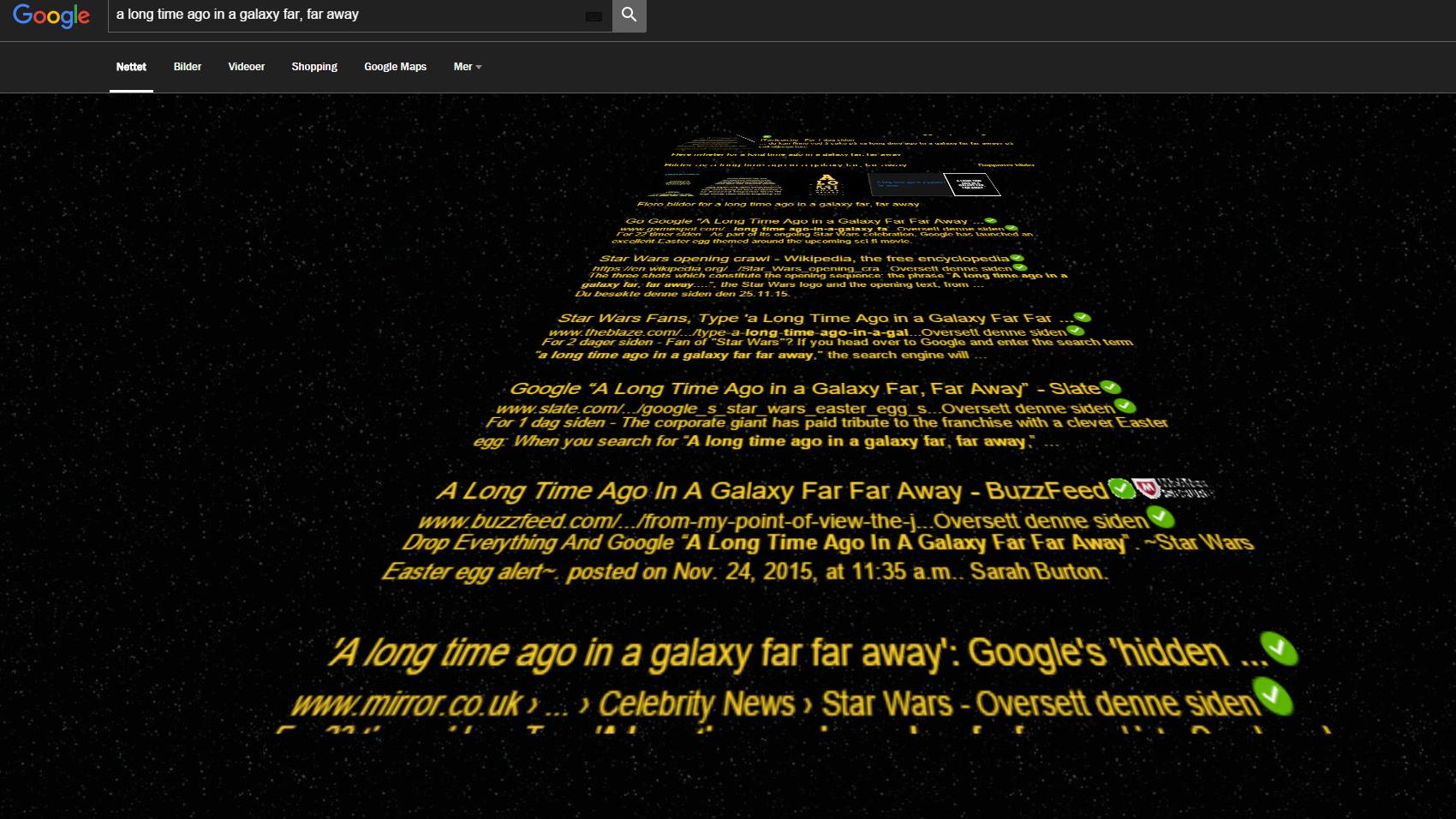 Nå kan du få opp Googles søkeresultater i ekte Star Wars-stil