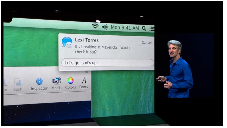 Nå kan du svare varsler direkte i pop-up-vinduet.Foto: Apple