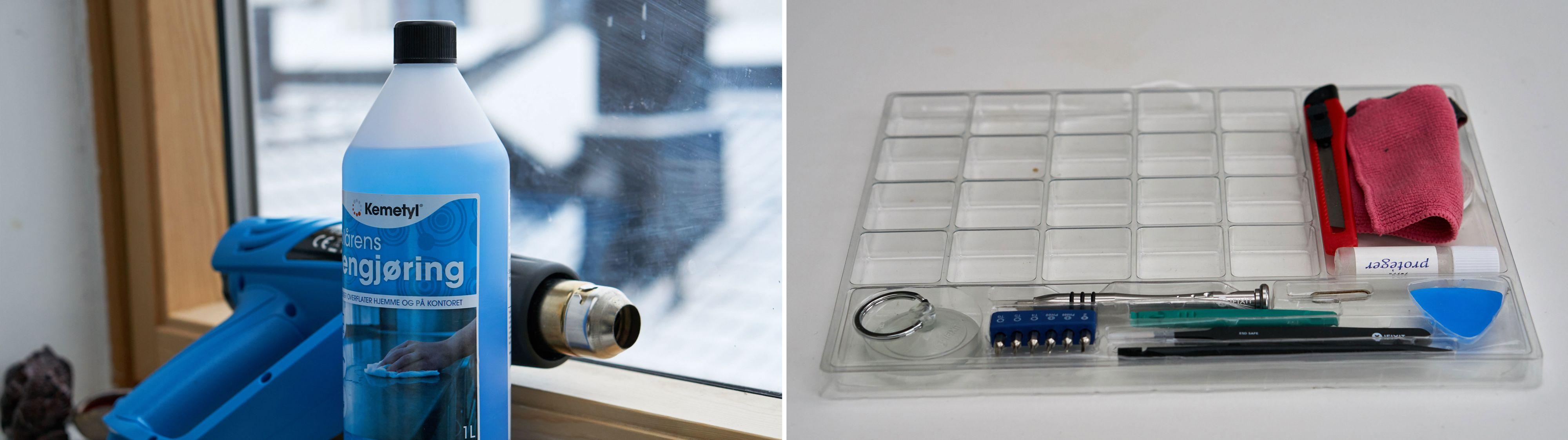Varmepistol, isopropanol og iFixit-utstyr trengs.