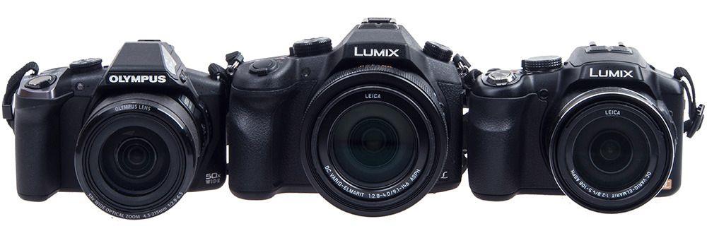 Olympus SP-100EE, 50x zoom – Panasonic FZ1000, 16x zoom – Panasonic FZ200, 24x zoom.