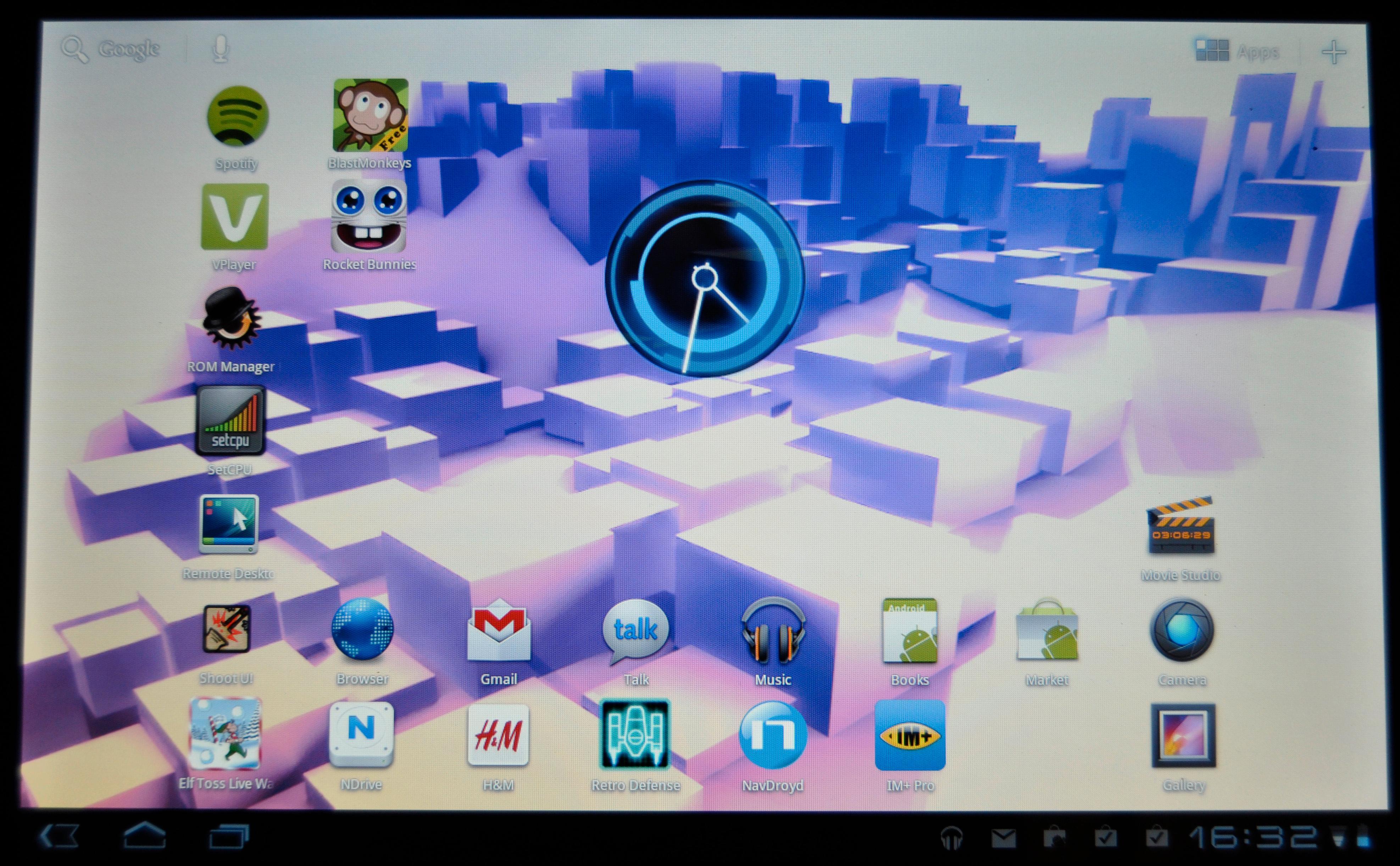 Hjemmeskjermene har fått en ny utforming i Android 3.0.