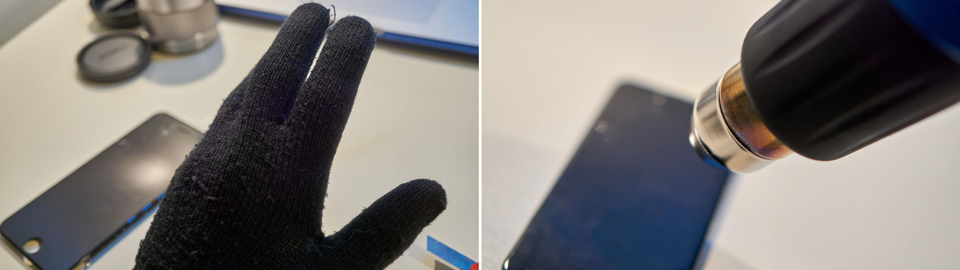 Hanske på venstre hånd trengtes for å håndtere varmen!