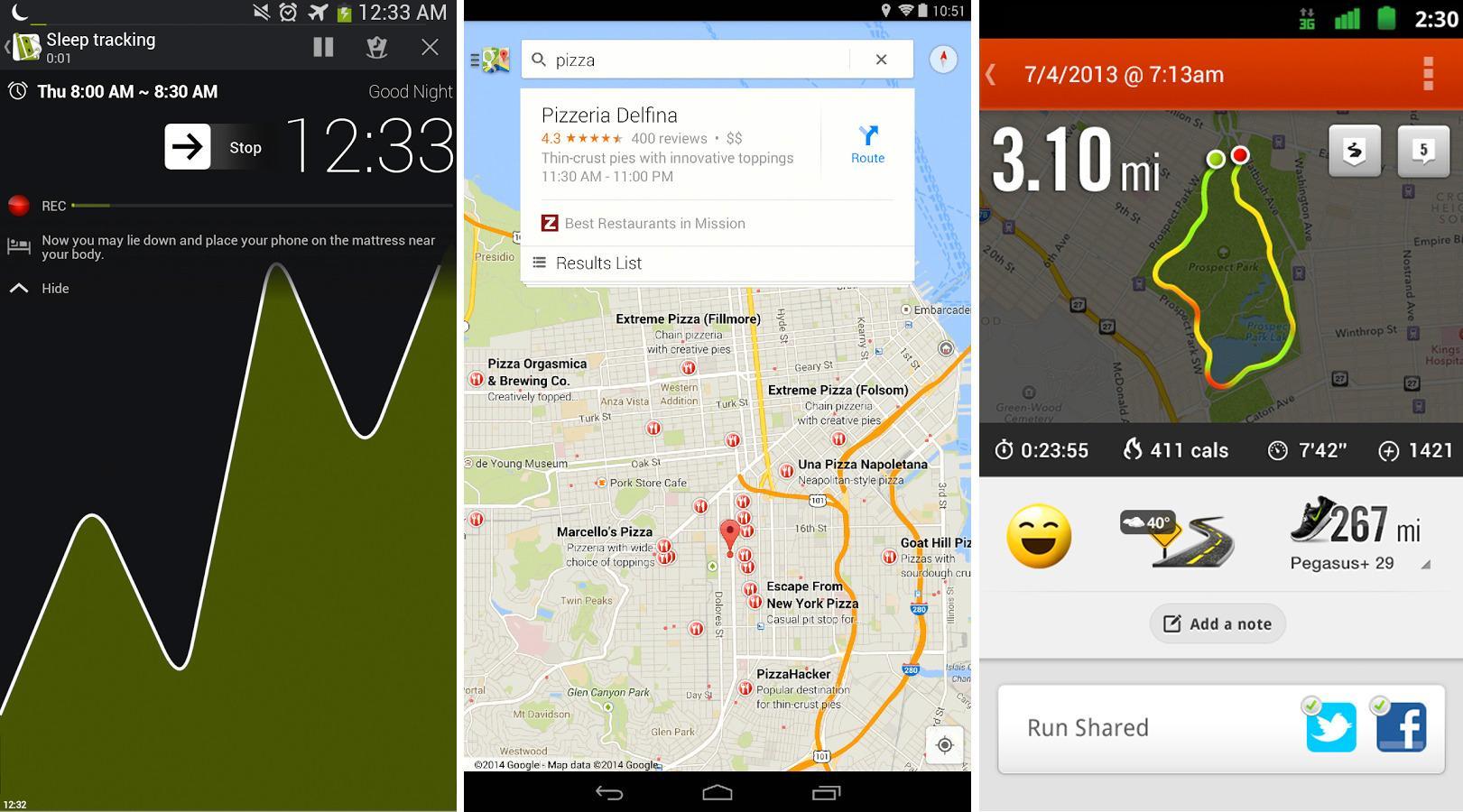 Vargs favoritter: Sleep as Android, Google Maps og Nike Running.