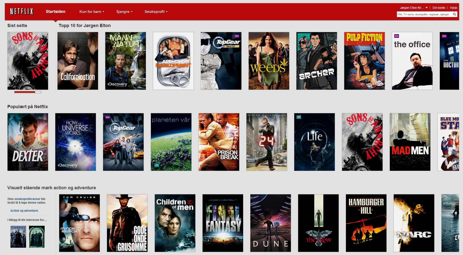Netflix foreslår filmer som kan passe deg.Foto: Netflix