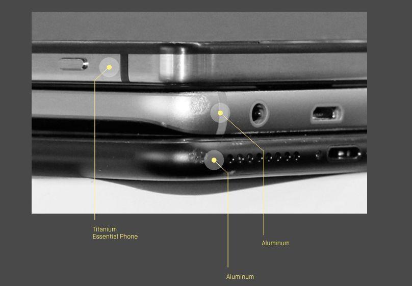 Knall og fall: iPhone nederst, Galaxy i midten og Essential øverst.