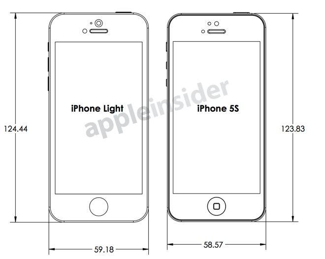 Disse skissene skal vise en iPhone 5C og en 5S. Foto: Apple Insider