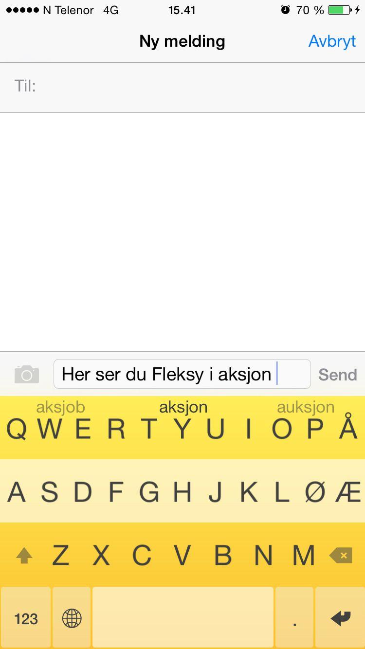 Fleksy lar deg velge ordene ved å sveipe tastefingeren din opp eller ned.Foto: skjermbilde