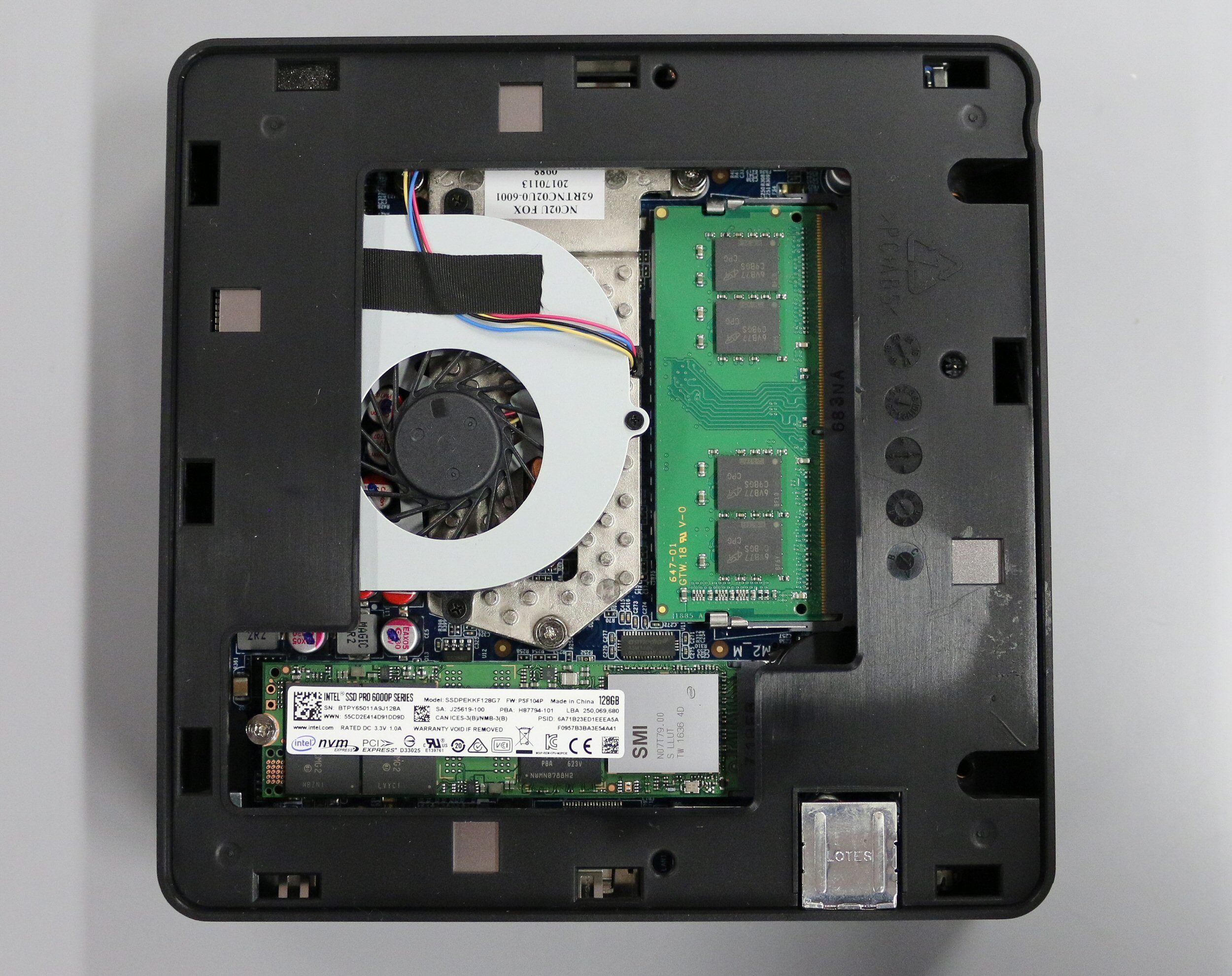 Her er Shuttelen utstyrt med en M.2-SSD.