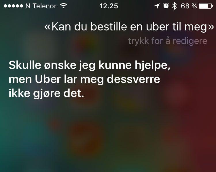 Siri skal ha blitt smartere og har nå fått støtte for bruk i tredjepartsapper. Da vi testet på lanseringsdagen var imidlertid ikke Uber-støtten på plass.