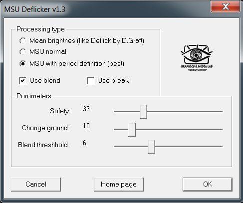 Standardinnstillingene i MSU Deflicker.