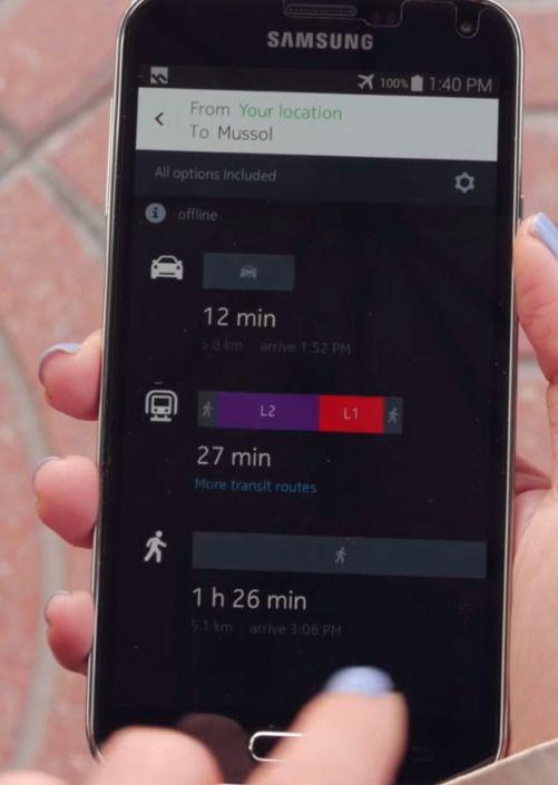Blant oppdateringene skal det være rutealternativer for både bil, kollektivtrafikk og deg som går til fots. Foto: heremaps/youtube