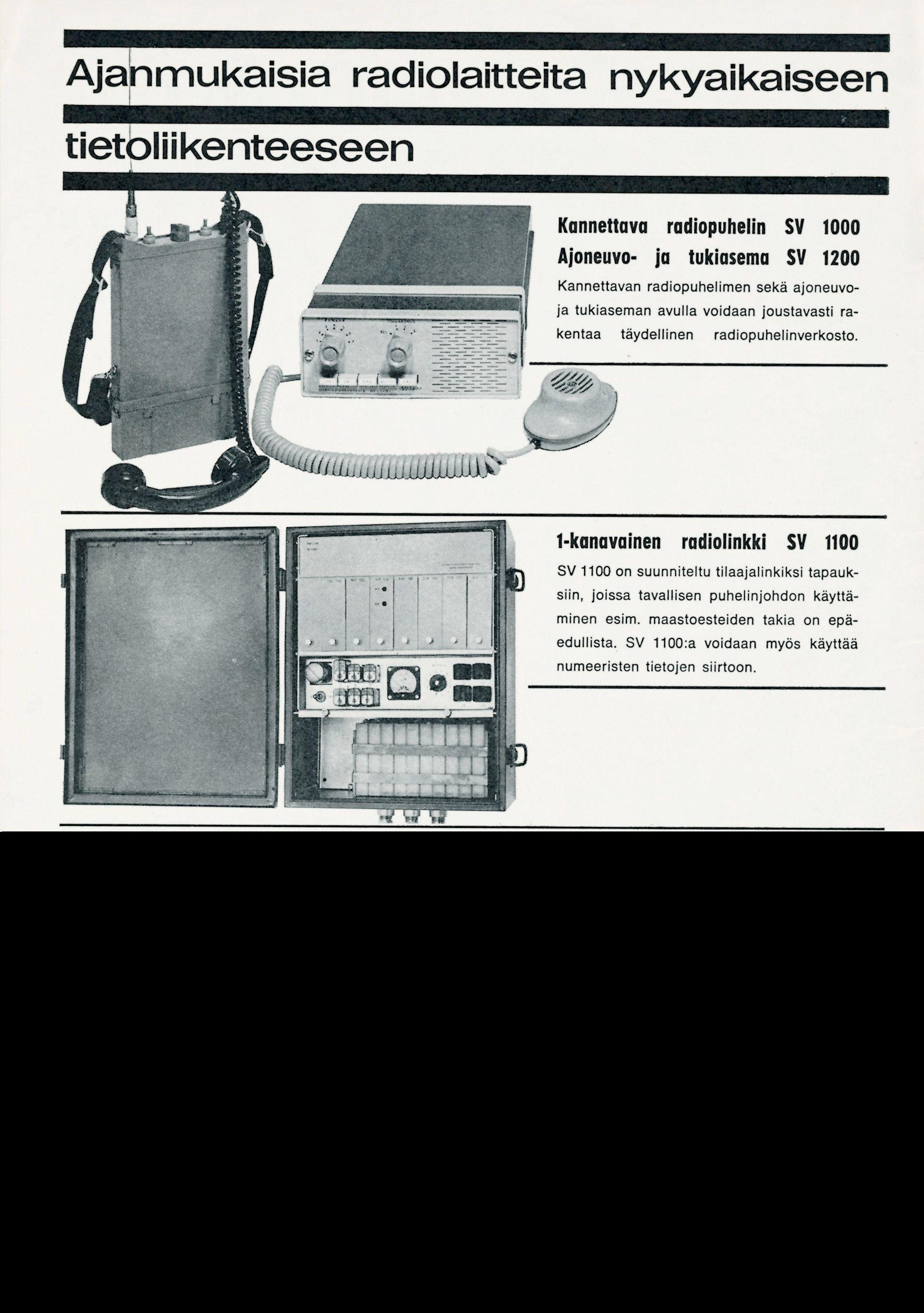 En annonse for Nokia radiokommunikasjonsutstyr, fra 1967.
