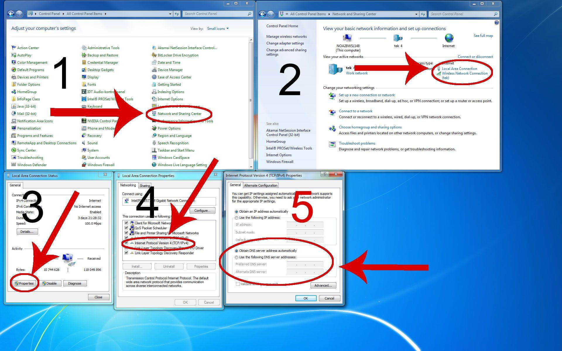 Slik bytter du DNS i Windows. Klikk for større versjon.