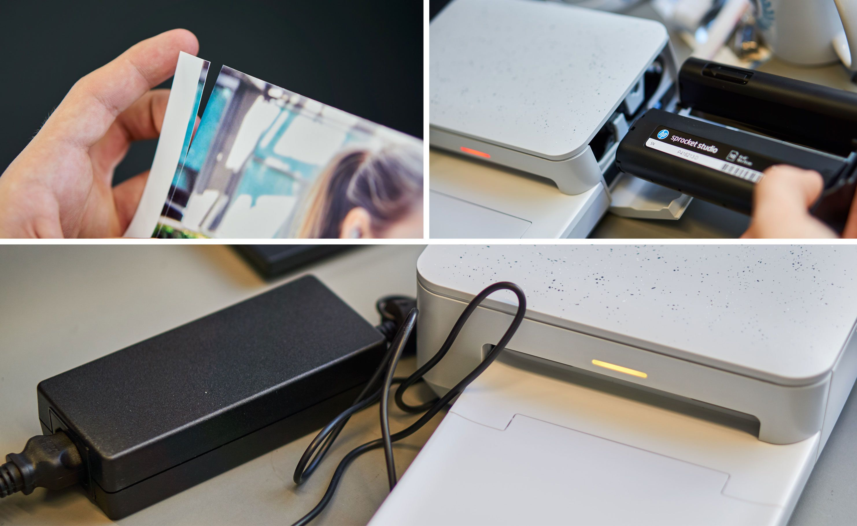 1) Alle bildene har kanter du kan rive av. 2) Printeren har en fargebeholder.