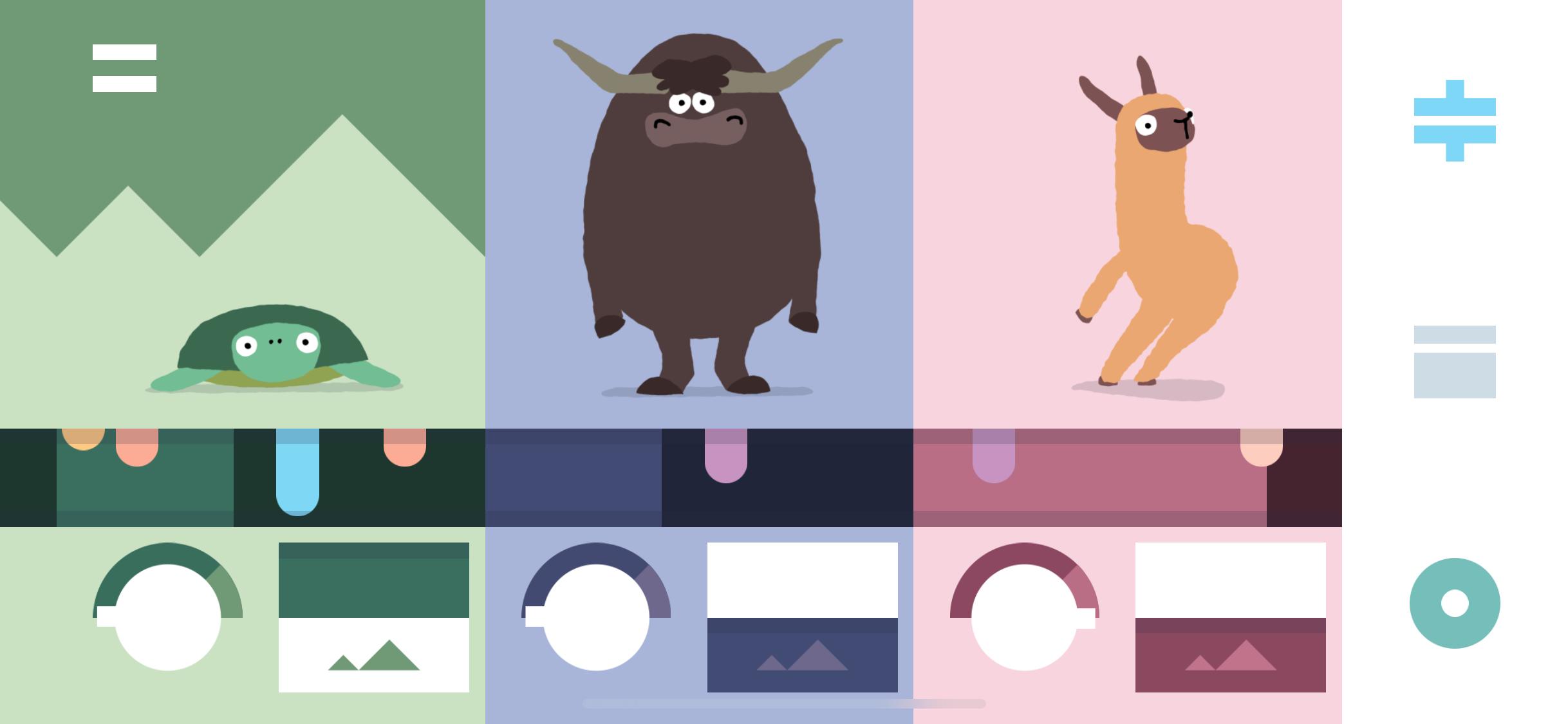Slik ser Bandimal ut. De ulike dyrene har forskjellige lyder. I menyen til høyre kan du velge mellom ulike rytmer og trommelyder som akkompagnement.