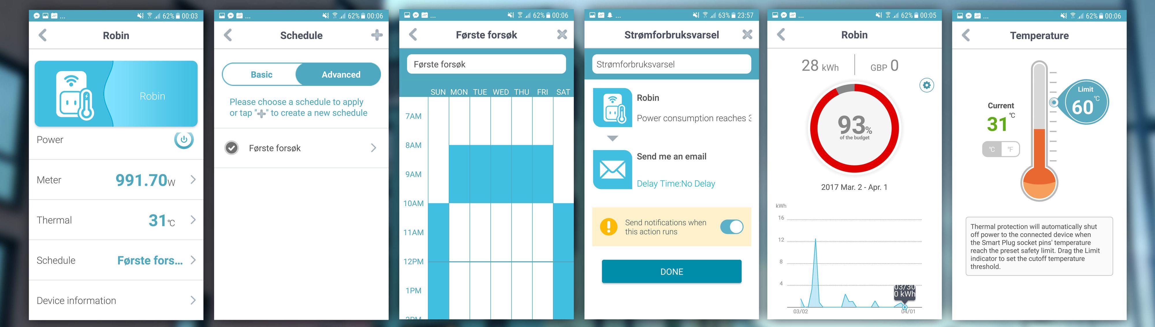 ...spesielt tidsplanen i D-Link-appen er forvirrende. Litt knotete å sette den opp er den også. Plusspoeng for mulighet til temperatur- og strømforbruksvarsel, dog.