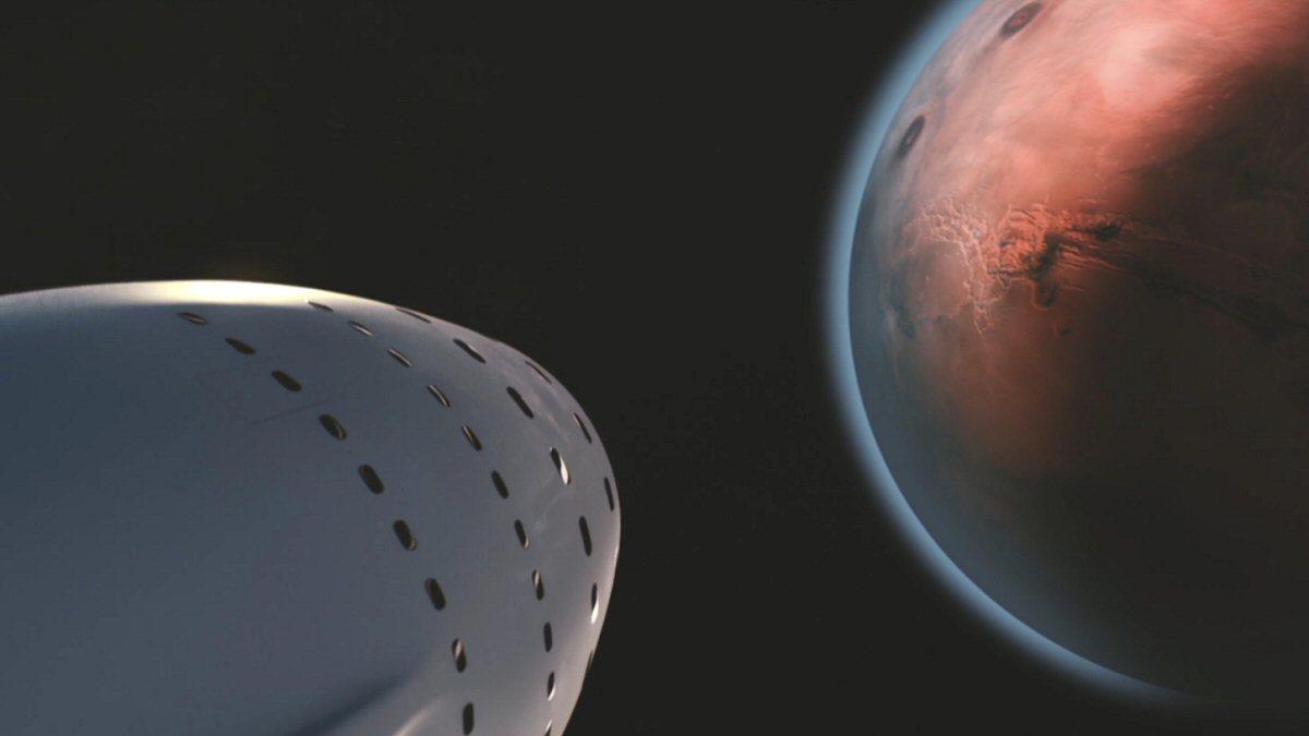 Hvem blir først til den røde planeten? Dette illistrasjonsbildet er hentet fra SpaceX sin redegjørelse for Mars-planene sine.