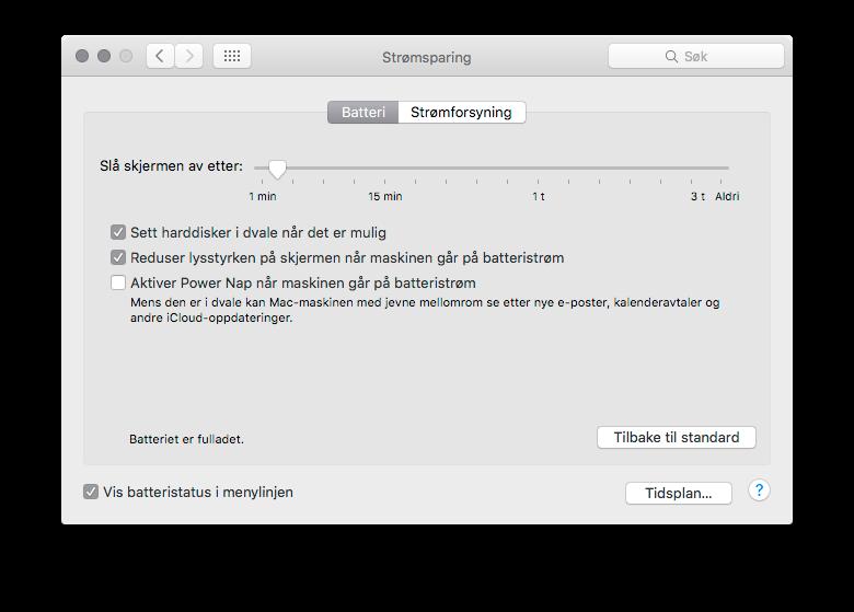 Når datamaskinen ikke er koblet til strøm kan OS X' Power Nap se etter nye e-poster, avtaler og andre iCloud-oppdateringer.