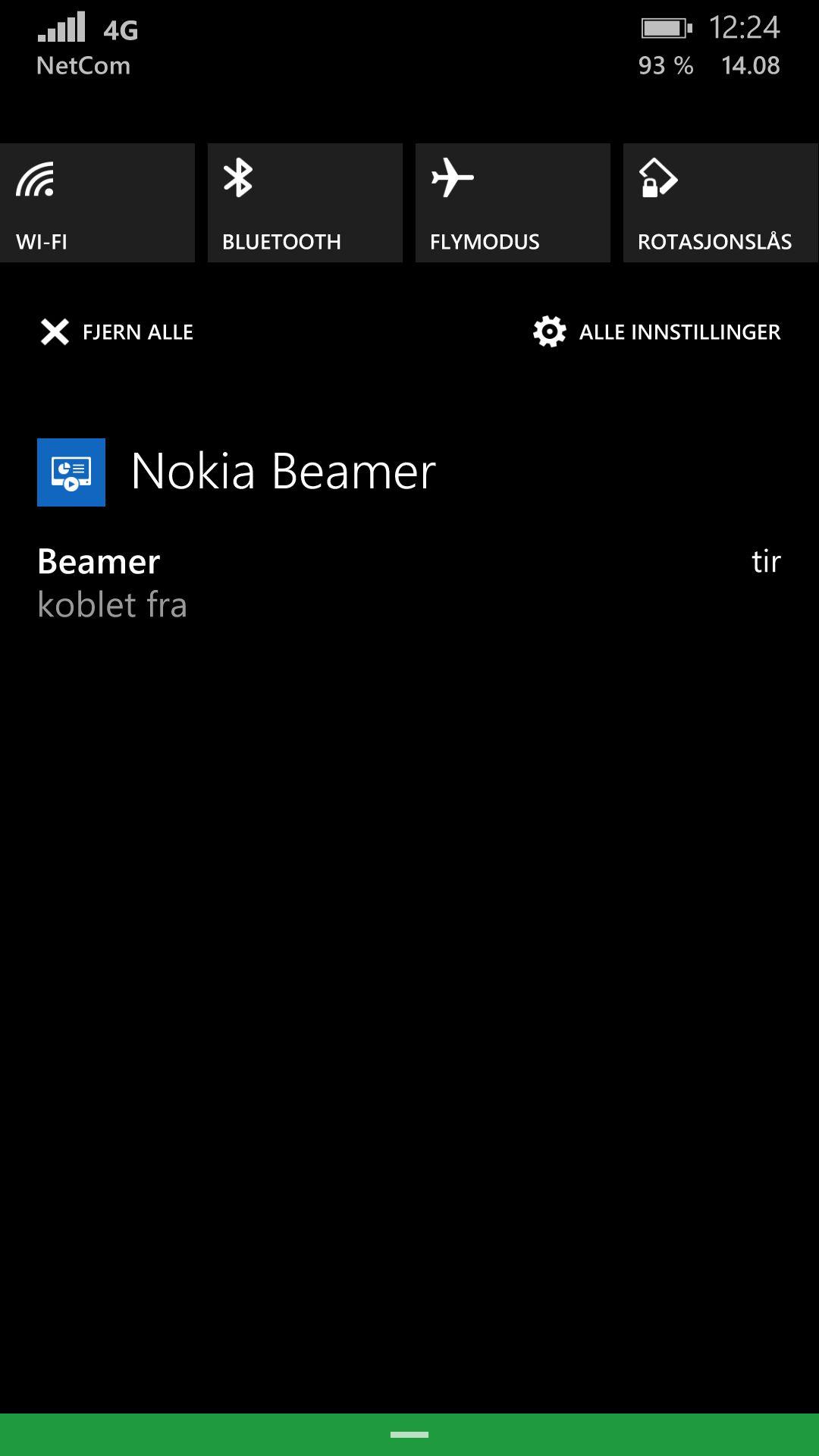 Windows Phone har fått varslingssenter. Det er svært praktisk når du vil ha et overblikk over varslinger, eller kjapp tilgang på enkle innstillinger.Foto: Finn Jarle Kvalheim, Amobil.no