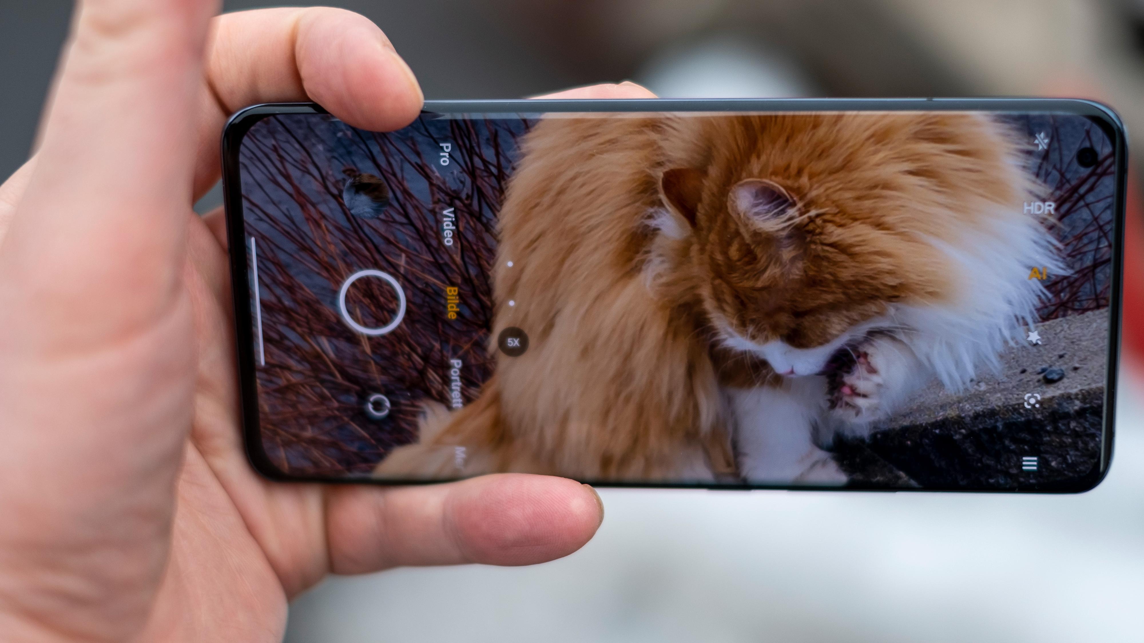 Kameraet har veldig lyst til å ta bilder i skjermens fulle bredde. Det betyr smale bilder med til dels underlige komposisjoner, selv om oppløsningen er stor nok til å beskjære bildene etterpå.