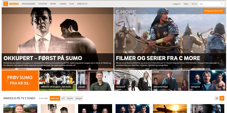 Sumo er mest en betaltjeneste, men har også noe gratis innhold. Foto: Skjermdump