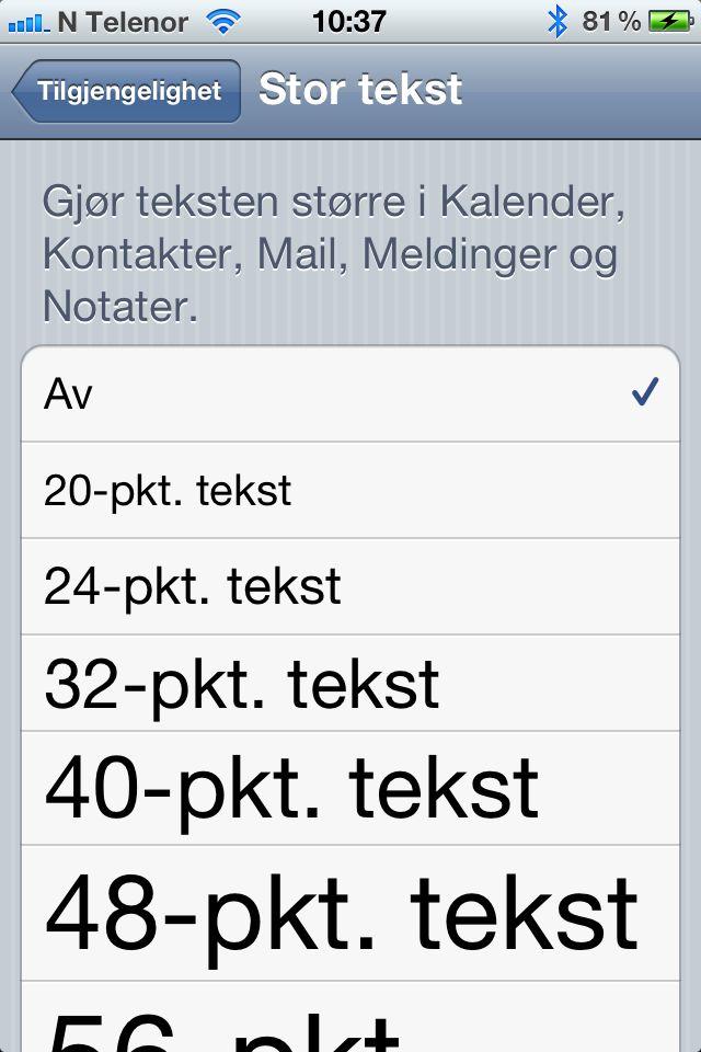 På iPhone har du god kontroll på skriftstørrelsen i flere av Apples egne programmer.