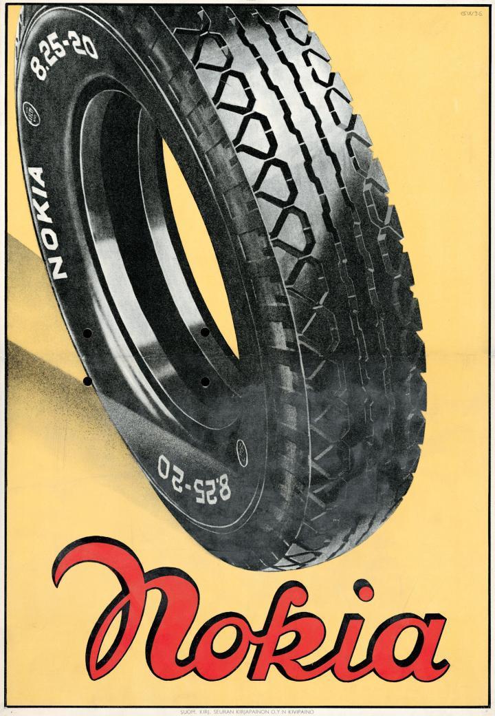 En dekk-annonse fra  Nokia fra 1936. Dekkproduksjonen til Nokia ble skilt ut som eget selskap i 1988 og byttet navn til Nokian Tyres. I 2003 solgte Nokia sine aksjer i Nokian.