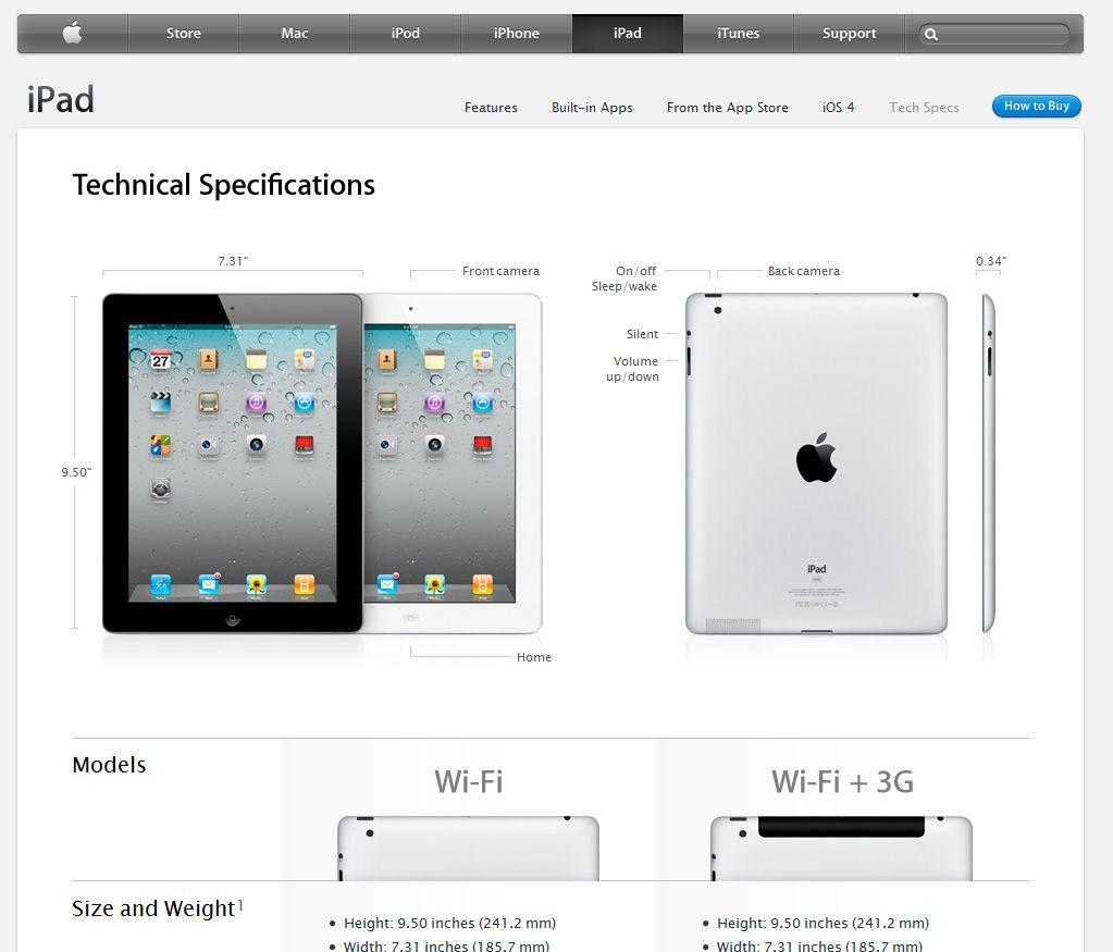 Slik ser Apples spesifikasjonsark i den amerikanske nettbutikken ut.