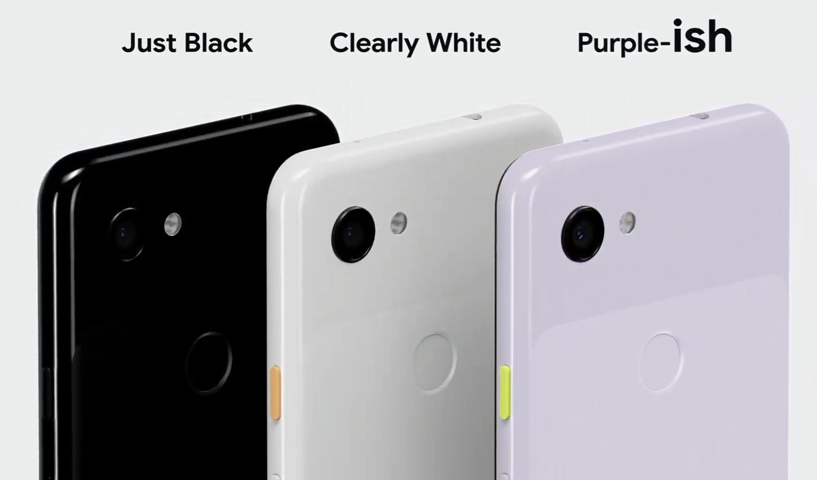 Pixel 3a kommer i tre farger. Og har hodetelefonkontakt på toppen. Helt til høyre - den nye Purple-ish-fargen.