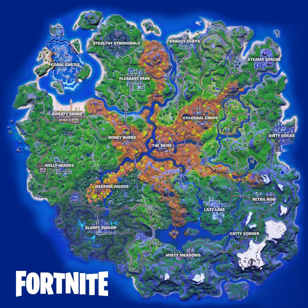 Kartet har fått store endringer, spesielt i midten der det nå er helt nye lokasjoner og en stjerneformet struktur med «The Spire» i midten.