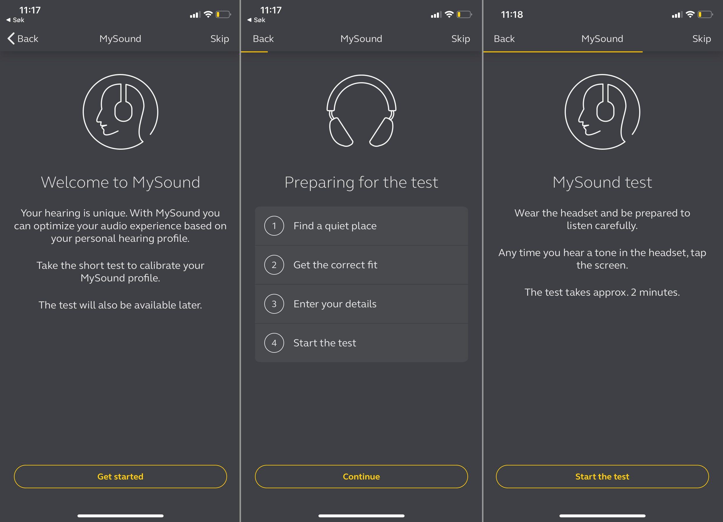 Jabras MySound-funksjon tester hørselen din og tilpasser lydgjengivelsen deretter.