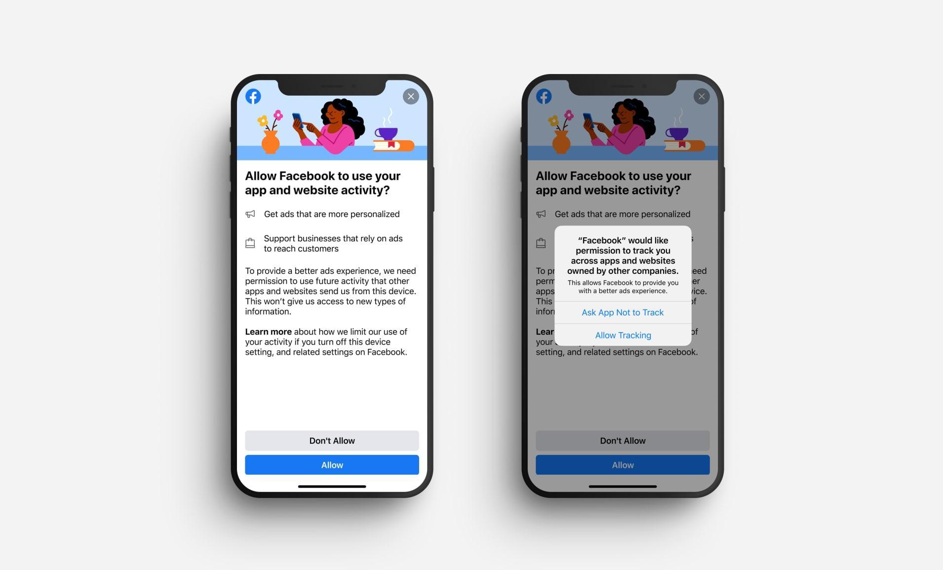 Slike beskjeder kan det bli mange av på Facebook for iOS fremover. Nå ruller nemlig Apple ut sin nye funksjon for å blokkere annonsesporing på tvers av apper, nettsteder og tjenester.