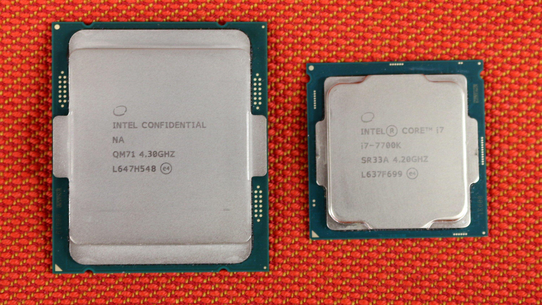 Størrelsesforskjell: Core i7-7740X til venstre, Core i7-7700K til høyre.