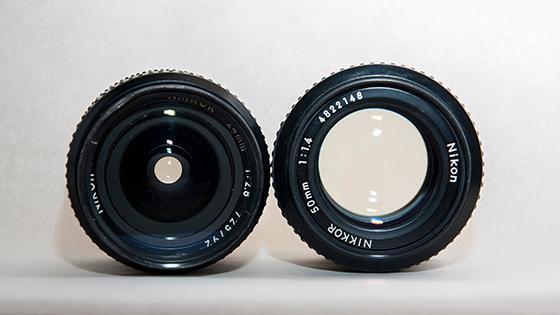 To ulike brennvidder og to ulike blenderåpninger: Fra venstre: Nikon 28mm f/2.8 og Nikon 50mm f/1.4. Foto: Kristoffer Møllevik