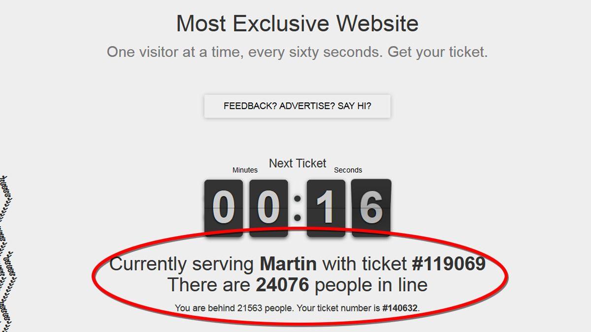 På denne nettsiden slipper de inn én person om gangen