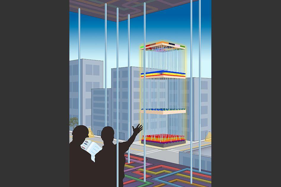 MITs eget illustrasjonsbilde av den nye 3D-brikken.