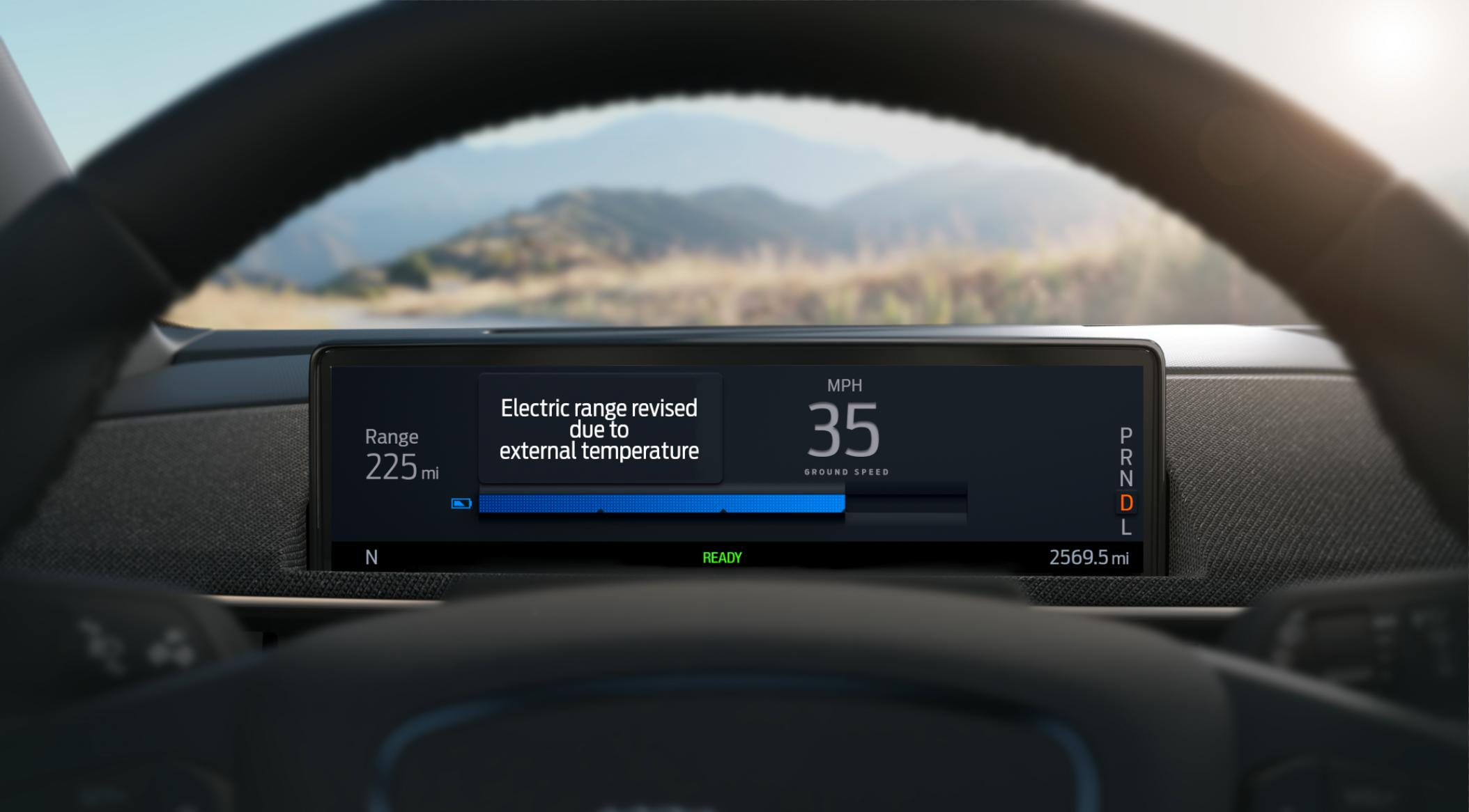 Fords rekkeviddeindikator på Mustang Mach-E vil bruke informasjon om topografi, temperatur og trafikkforhold for å estimere hvor langt du kan kjøre før batteriet er tomt.
