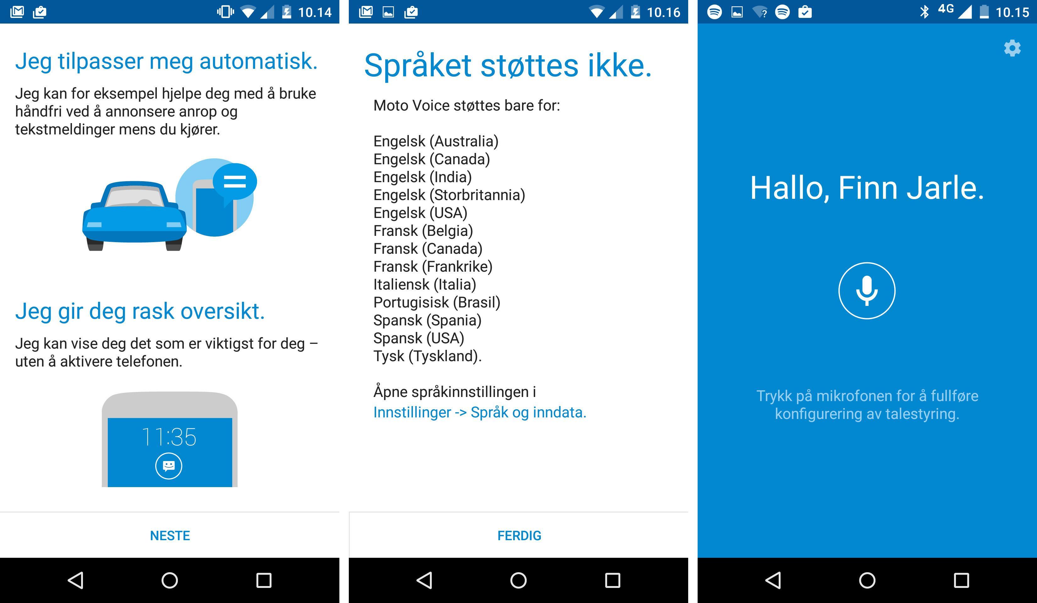 Motorolas egne apper er lite samarbeidsvillige. Vi loves gull og grønne skoger, før appen mer eller mindre strander på manglende språkstøtte. Trykker vi på tannhjulet får vi imidlertid tilgang på en rekke funksjoner, selv om ikke alle er like nyttige.