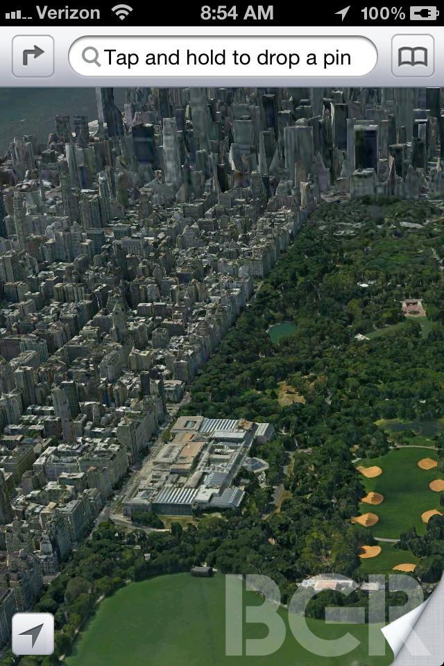 Apples nye kartverk for iOS-enhetene har 3D-kart. Dette skal være et skjermbilde fra appen.
