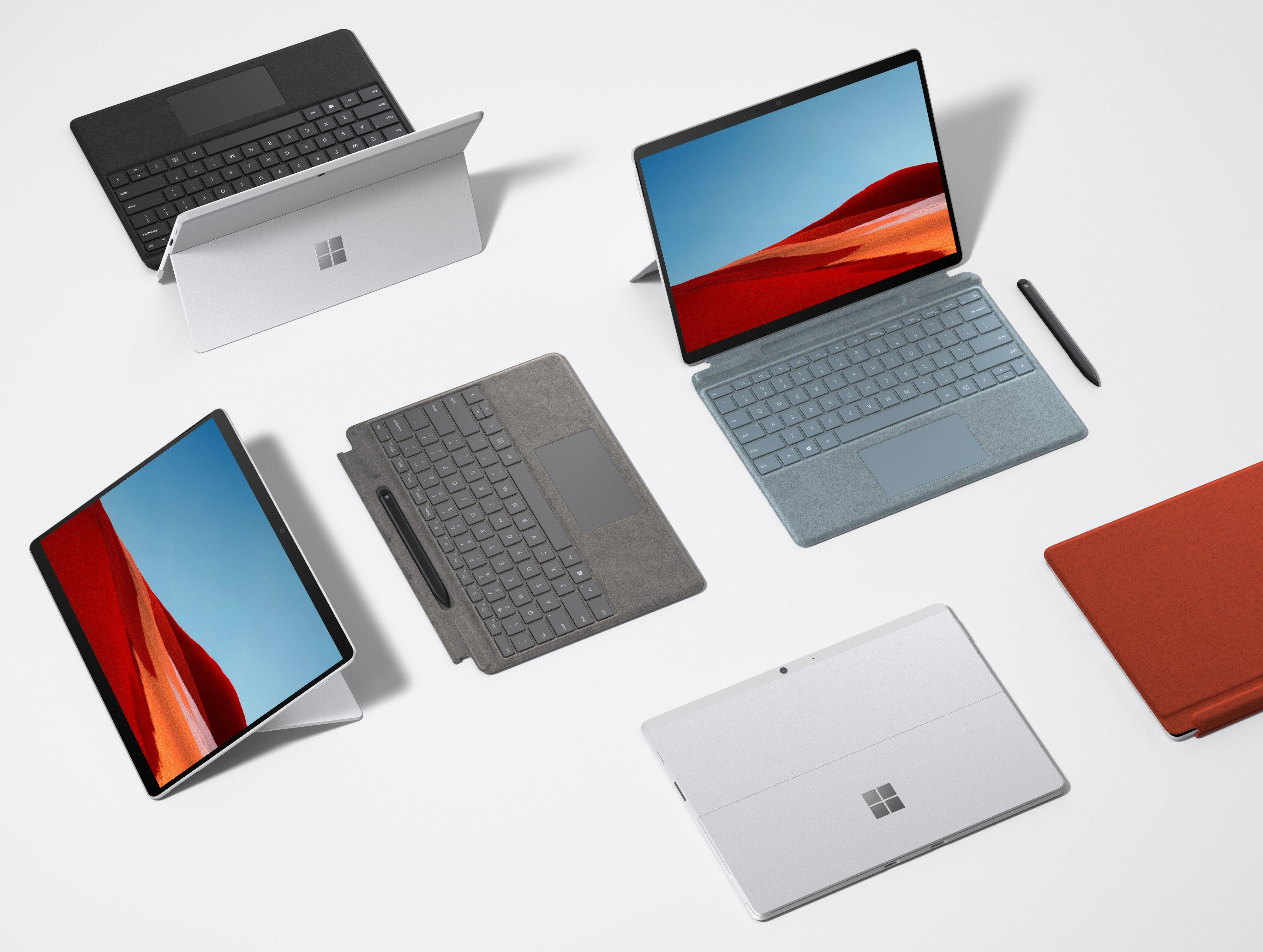 Surface Pro X får noen nye fargevalg, både når det gjelder selve datamaskinen og tastaturet.