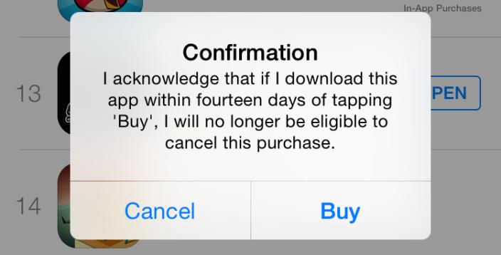 Hvis Apple mener du misbruker systemet, får du opp denne beskjeden neste gang du prøver å kjøpe en app. Trykker du OK, frasier du deg retten til å refundere kjøpet. Foto: 9to5mac