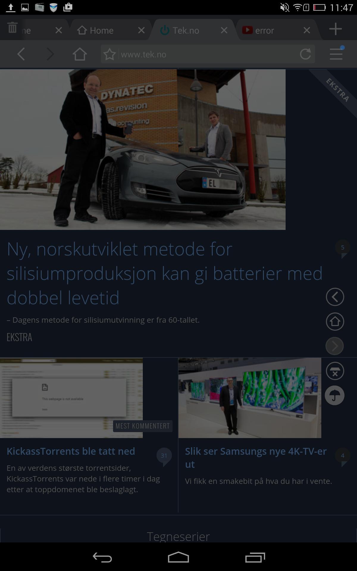 Nattmodusen i UC Browser er god å ha når du sjekker nyheten på senga.