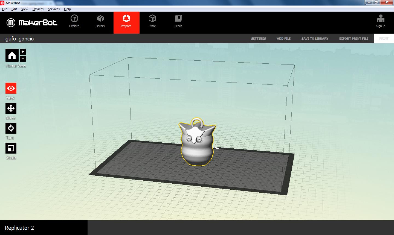 Uglemodell i MakerBot Desktop.Foto: MakerBot
