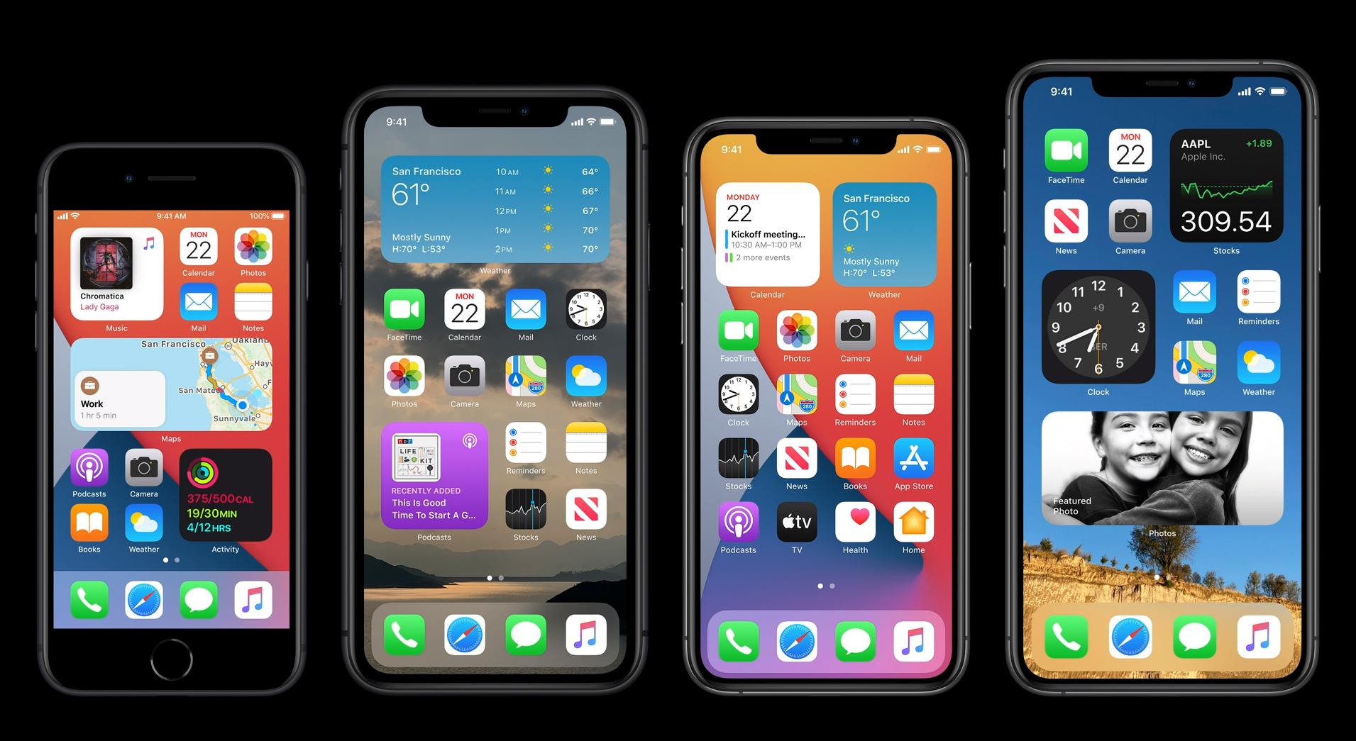 Slik ser nye iOS 14 ut på tvers av de aktuelle iPhone-modellene.