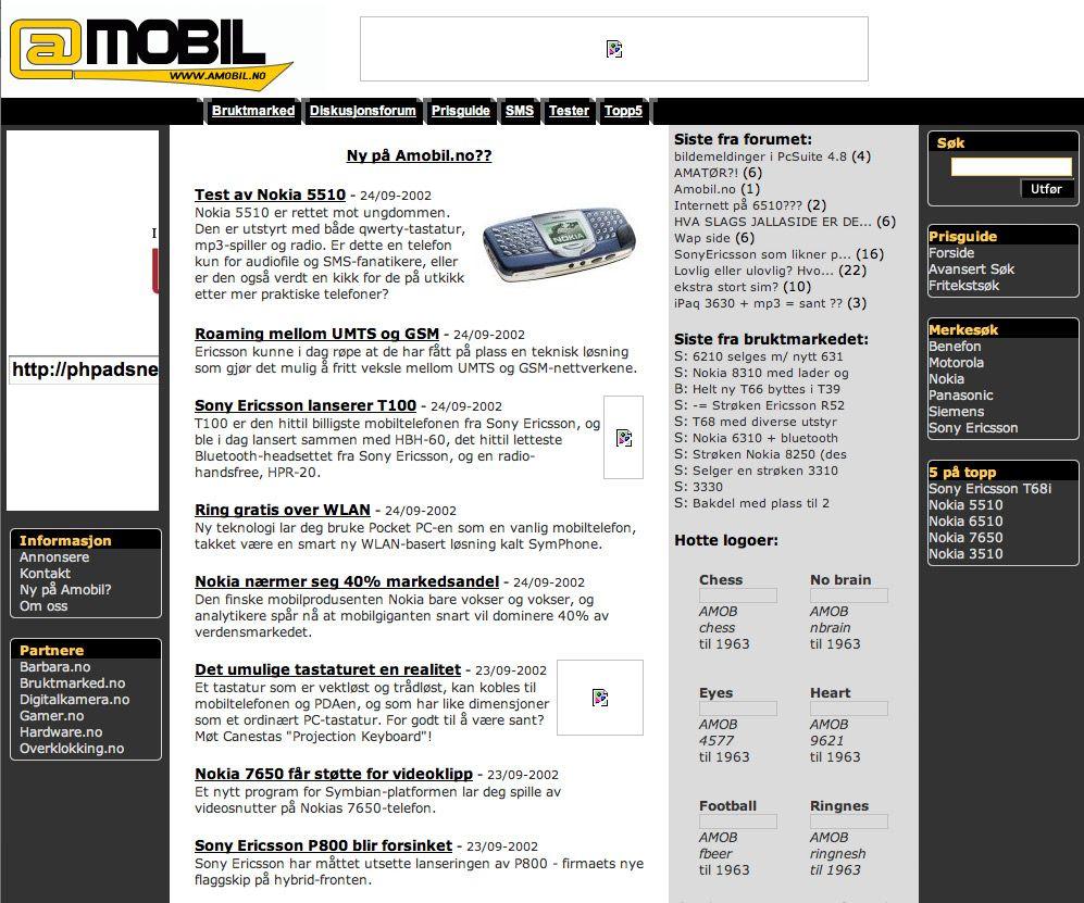 Slik så Amobil ut i oktober 2002.Foto: Wayback Machine
